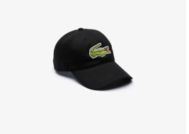 Lacoste Men's Oversized Crocodile Cotton Cap NEW AUTHENTIC Black RK4711 51 031 - $49.50