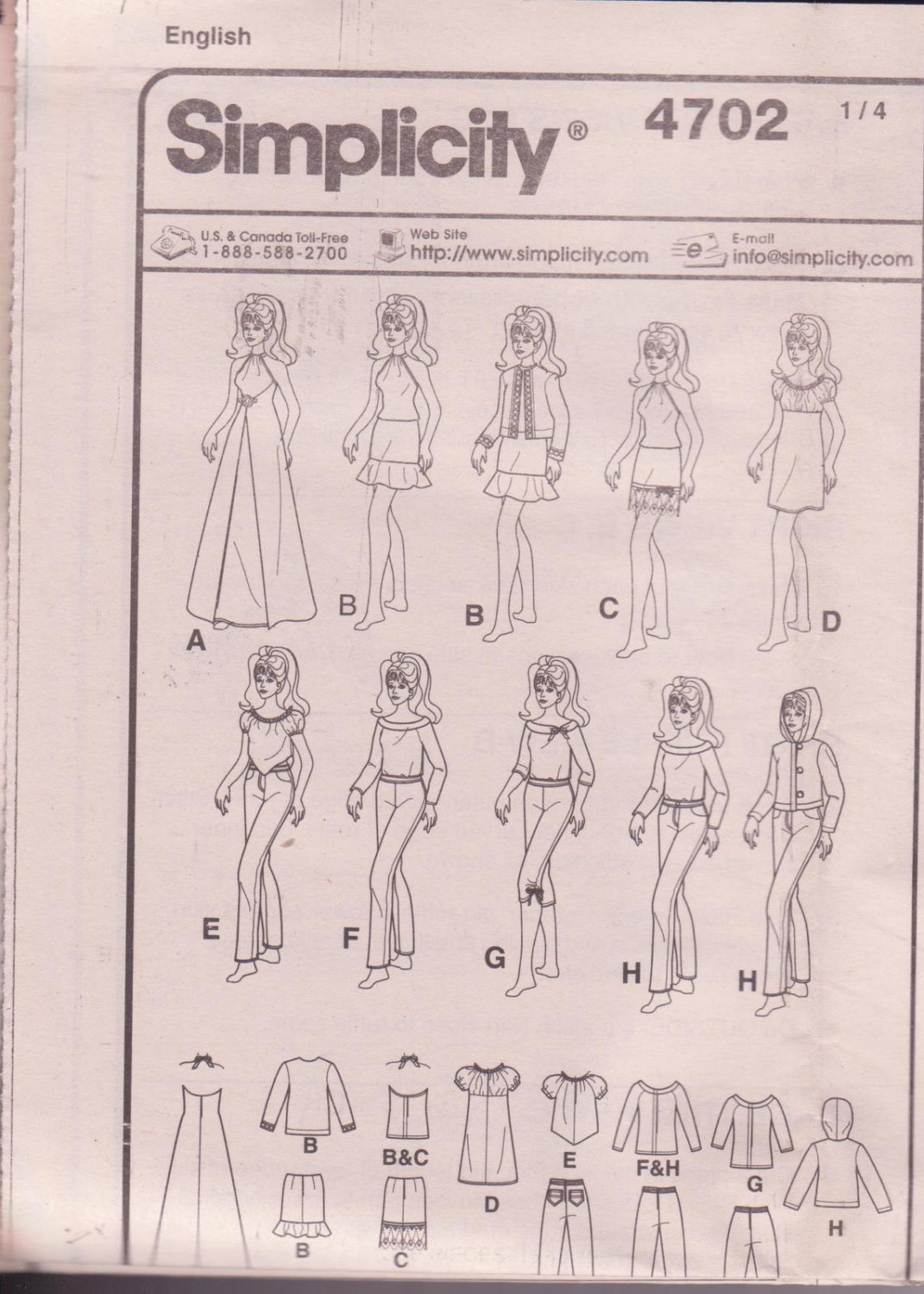 Simplicity 4702, Fashion Dolls Clothes, 11 1/2 inches doll, Blouses, Skirt, Pant
