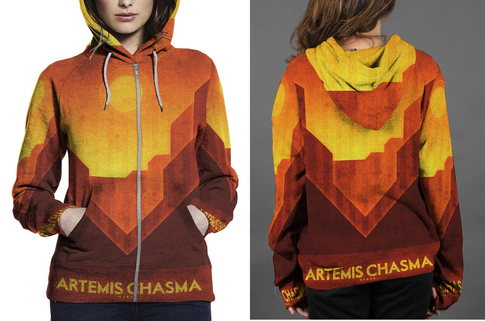 Venus artemis chasma zipper hoodie women s