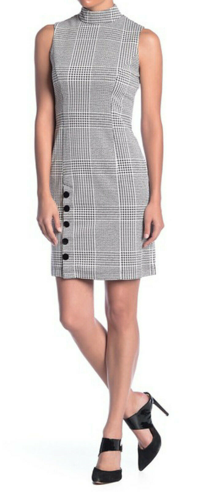 Primary image for Sharagano High Neck Plaid Dress Petite 10 Black White Plaid P10 Faux Button Hem