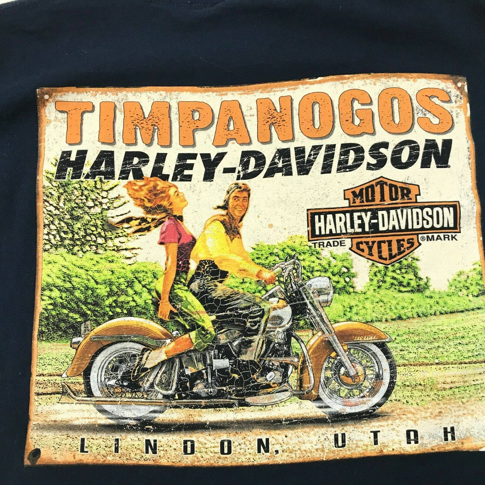 Harley Davidson Imagen Retro Camisa Dos Caras Azul Marino Motero Camiseta TALLA image 3