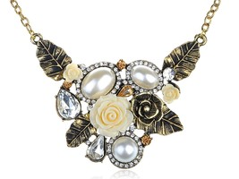 Womens Antique Golden Tone Faux Pearl Floral Flower Cream Rose Bib Neckl - $55.55