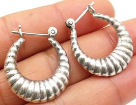 925 Sterling Silver - Vintage Carved Shell Design Hoop Earrings - E3391 - $28.25
