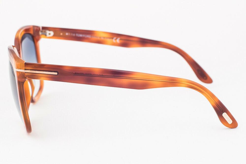 Tom Ford Amarra Light Brown / Blue Gradient Sunglasses TF502 53W