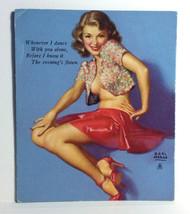 1940s Pinup Girl Ink Blotter Card EARL MORAN I Dance Alone Evening's Flo... - $14.84