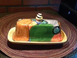 Vintage Hand-Painted Ceramic Butter Dish Covered - Abstract - Signed - $14.85