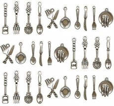 100pcs Craft Supplies Fork Knife Spoon Tableware Charms Pendants For Cra... - $20.37
