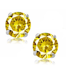 Round Cut Cubic Zirconia CZ Canary Sterling Silver November Basket Stud Earrings - $14.84+