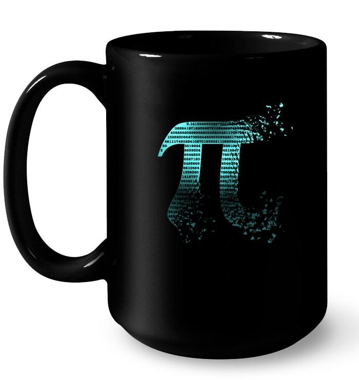 Pi Shattered Teal Designer Pi Day Gift Coffee Mug
