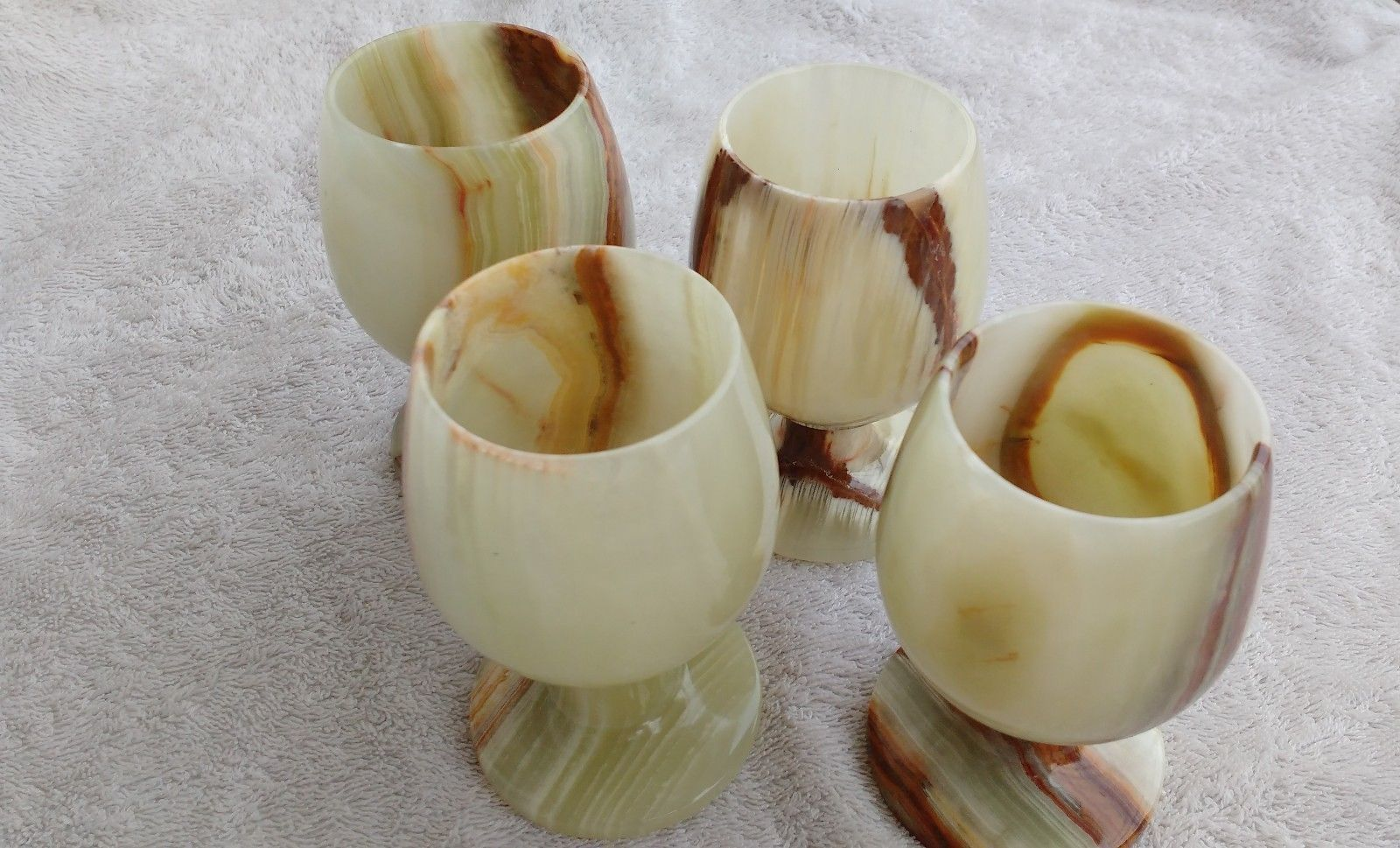 Onyx-Marble-Stone-Wine-Cup-Glass-Shots-4-Pc-Set-4-INCH-GOBLETS-GIFT