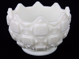 "Vintage Westmoreland Nut/Mint Dish, Old Quilt Design, 3.5"" x 4.5"" Milk Glass  - $12.69"