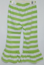 Blanks Boutique Girls Striped Ruffle Pants Color Green Size 2T image 2