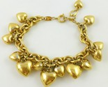 TRIFARI Hearts Gold-Tone Link Chain CHARM BRACELET - adjustable to 9 inches