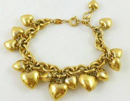 Trifari Hearts Gold-Tone Link Chain Charm Bracelet - Adjustable To 9 Inches - $60.00
