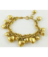 TRIFARI Hearts Gold-Tone Link Chain CHARM BRACELET - adjustable to 9 inches - £48.17 GBP