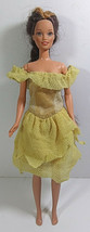 Vintage Barbie Doll Clothing Dress Mattel Yellow Off Shoulder Layered Ruffle - $5.99