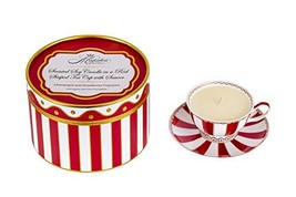 Scented Soy Candle in a Red Striped Tea Cup with Saucer, Tea Cup, Candle... - $29.41