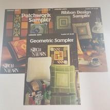 Needlework lot 3 VTG Leisure Arts Sampler Leaflets Patchwork Geometric R... - $8.58