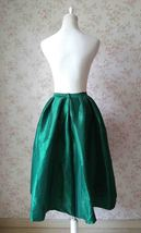 Dark Blue Glossy A Line Ruffle Skirt Women Taffeta High Waist Pleated Midi Skirt image 9
