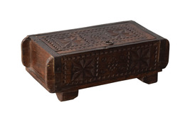 Lauritz Vintage Carved Old Wood Masala Box   - $95.00