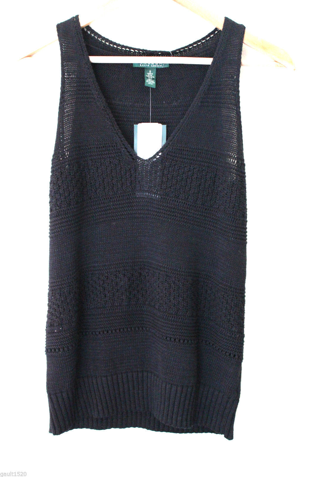 Primary image for NWT LAUREN Ralph Lauren Black Linen Cotton Knit Sleeveless Sweater Vest S $98