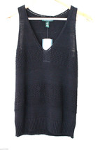 NWT LAUREN Ralph Lauren Black Linen Cotton Knit Sleeveless Sweater Vest ... - $54.00