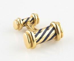 Vintage Tiffany & Co. 18k Yellow Gold Enamel Pinstripe Single ONE Cuffli... - $800.39