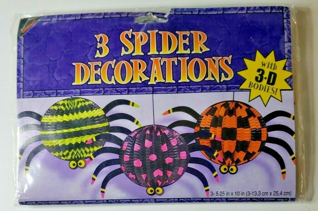 """1990's Amscan 3 Spider Decorations 3-5.25 By 10"""" 3D Bodies NIP - $14.99"""