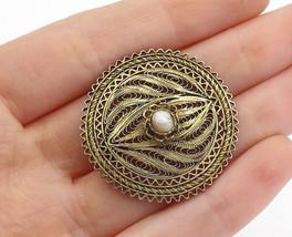 925 Sterling Silver - Vintage Pearl Filigree Designed Round Brooch Pin -... - $28.33