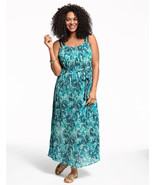 NEW Lane Bryant Plus 18/20/22 2X Teal BLUE Floral Pleated Maxi Dress - $27.65