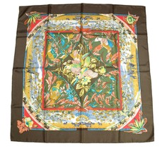 Hermes Scarf TROPIQUES Silk 90 cm Brown bird toucan Carre Shawl Stole - $276.21