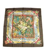 Hermes Scarf TROPIQUES Silk 90 cm Brown bird toucan Carre Shawl Stole - $276.21