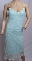 VTG 90's Betsey Johnson Baby Blue Embroidered Floral Beaded Fringe Slip Dress - $142.49