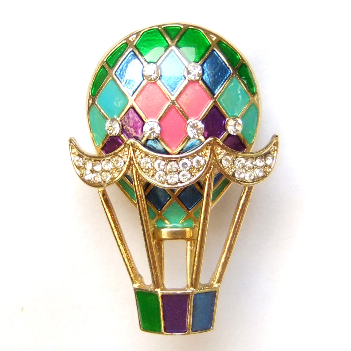 Primary image for Colorful Hot Air Balloon Pink Green Purple Gold Sparkle Crystal Brooch Pin Gift