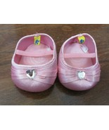 Build A Bear Pink Satin Heels with Rhinestone Heart - $7.91