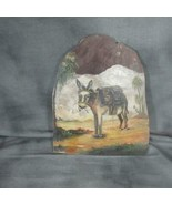 Vintage Oil Painting on Wood, Burro Carrying Wood, Santa Fe - $44.88