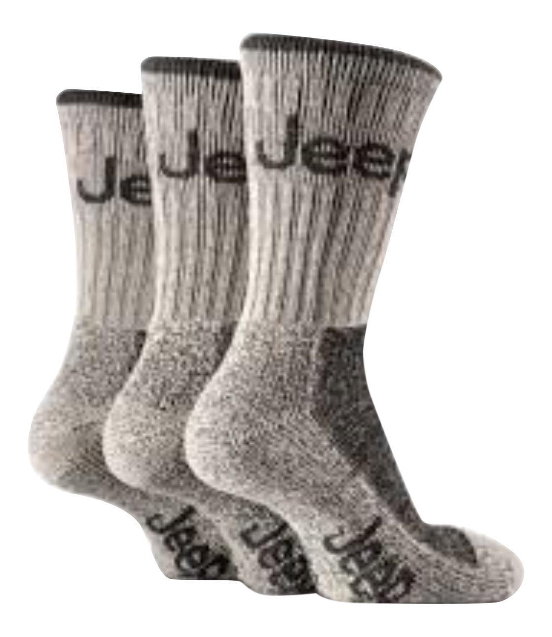 Jeep - 3 paires homme randonnée travail coton chaussettes 39-45 eur