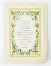 Hallmark plaque floral cross stitch picture wood vintage home wall decor... - $7.92