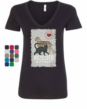 Rescued My Best Friend Women's V-Neck T-Shirt Cat Dog Lovers Adopt a Pet - $10.65+