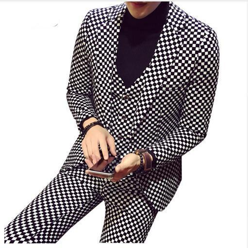Men Plaid Fashion Slim Fit 3 Pieces Casual Business Suit Wedding Dress Suit Stag
