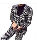 Men Plaid Fashion Slim Fit 3 Pieces Casual Business Suit Wedding Dress S... - $162.00