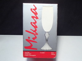 4 Mikasa Ritz Champagne Flutes  ~~ Old New in Org Box ~~ W. Germany - $24.95