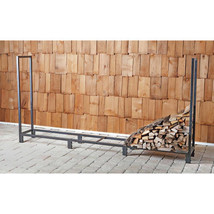 Heavy Duty 8' Firewood Rack Tubular Powder Coated Finish Log Stable and ... - $90.95