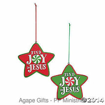 FE-OTC Christmas Religious Ornament - Find JOY in Jesus - Red & Green 2 ... - $8.95