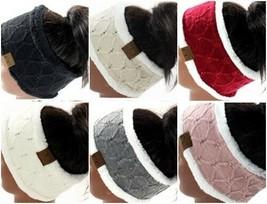 CC Beanie Head Wrap Band Sherpa Lined Soft Ear Warmer with Rhinestones - $15.99