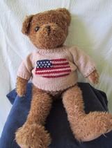 "Fiesta T. C. Dawson Tyler Plush Bear Flag Sweater 23"" Stuffed Toy Americana - $19.86"