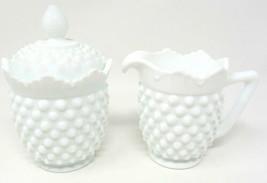 White Hobnail Fenton Creamer Covered Sugar Pitcher Milk Glass Cream Vintage - $38.59