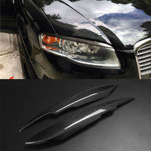 Carbon Fiber Car Headlight Cover Eyebrows Eyelid Trim  For Audi A4 B7 - $69.29