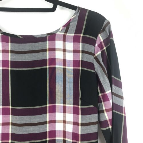 Loft Womens Size 00 Long Bell Sleeve Plaid Mini Dress Black Plum A-Line NEW