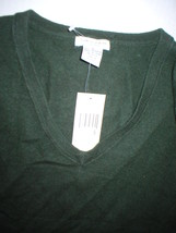 NWT New Womens Sweater Extra Soft Gabriella Rossi Cashmere S Dark Green 2 ply image 2